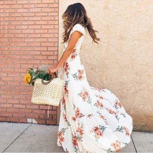 White floral wrap tie maxi dress